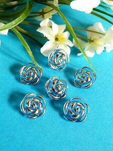 """183B/Delicious Small Buttons """" Flower D'Ispahan """" Blue And Gold Set Of 6 Buttons"""