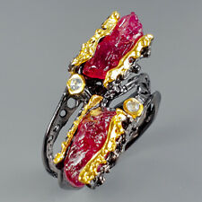 Vintage Natural Ruby 925 Sterling Silver Ring Size 7.5/R116254
