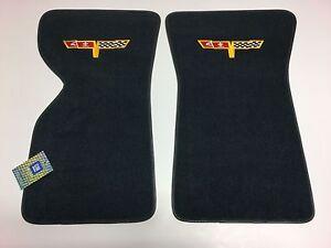 1978-1980 Corvette Floor Mats Dark Blue Cutpile Corvette Flags Logo Chevrolet