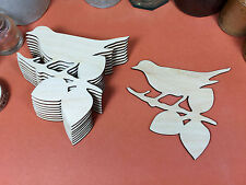 WOODEN BIRD ON A BOUGH  Shapes 10.5cm (x10) laser cut wood crafts blank shape
