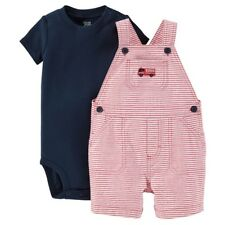 New Infant Boys Carter's Just One You 2pc Firetruck Shortall & Bodysuit Size 3Mo