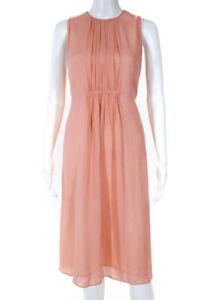 Karen Walker Womens Silk Sleeveless A Line Midi Dress Pink Size 4