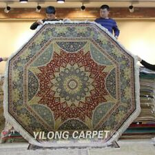 Yilong 8'x8' Octagon Handmade Silk Carpets Living Room Area Rug 048