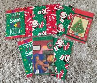 Adorable Vintage Gift Bags - Christmas Holiday- Set of 9 New Lot Santa NOS