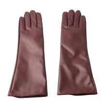 Ladies Elegant Mocha Faux Leather Long Gloves