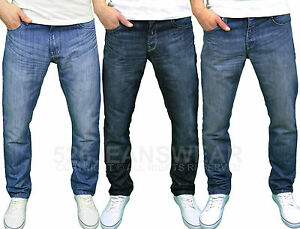 """Enzo Men's Designer Regular Fit Straight Leg Jeans Sizes 28""""- 48"""", BNWT"""