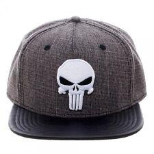 MARVEL COMICS HEATHER GREY THE PUNISHER LOGO SNAPBACK HAT CAP BLACK PU FLAT BILL
