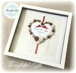 💖Personalised Floral Heart/ Lace Box Frame, Wedding Engagement Keepsake Gift