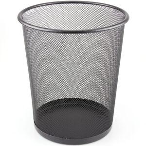 Mesh Waste Paper Bin Metal Wire Rubbish Basket for Office Bedroom - Black