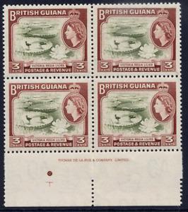 BRITISH GUIANA 1963-65 QEII DEFINITIVE 3C IMPRINT BLOCK OF FOUR VFUM. SG 354.