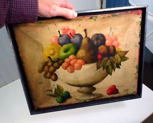 VTG Signed Philippe Auge Oil On Canvas Fruit Still Life Painting Nature Morte