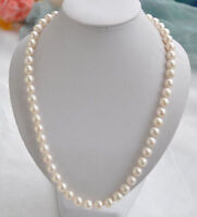 """20"""" Genuine AAA 8-7MM White Akoya Cultured Pearl Beaded Necklace 14K gold"""