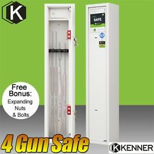 KENNER 4 Rifle Storage Gun Safe Firearm Lockbox Steel Cabinet WHITE 3