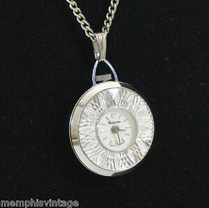 Vintage Watch Fob Pendant Necklace Starburst ATOMIC Mid Century SWISS