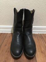 Justin Black Doeskin Roper 3620 Boots Black Leather Cowboy Mens Size 10.5 D