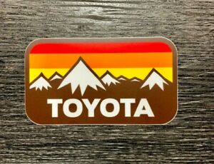 Toyota Snow Mtns w/ Vintage Stripes Sticker Decal Tundra Tacoma 4Runner 4x4 SR5