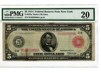 1914 $5 FR 833a PMG VF-20 Large Size US Note New York Federal Reserve Note #2077