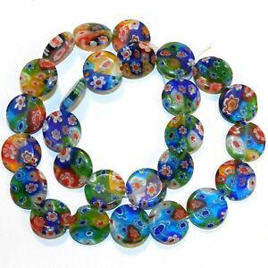 "G3571 Mosaic Multi-Color Flower 14mm Flat Round Millefiori Glass Beads 13"""