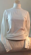 Caché Ivory Turtleneck Sweater Mother Of Pearl Buttons ForWomen's X-Small
