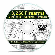 3250 Gun Rifle Pistol Firearm Shotgun Handgun Manuals, Tear Down Guides DVD V21