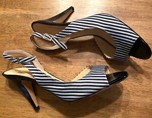 KATE SPADE Blue & White Striped Open Toe Slingback Heels Italy Made NWOB 9.5