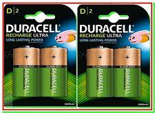 4 DURACELL Ricaricabili D TORCIA 3000 mAh Pile Batterie HR20 DC1300 NEW DURALOCK