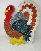 "Vtg 70'S Thanksgiving Turkey Melted Plastic Popcorn Wall Hanging Plaque 22"" Tall"