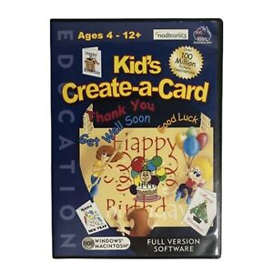 KID'S CREATE-A-CARD - CD ROM for PC & MAC - W/Installation Booklet (Age 4-12+)