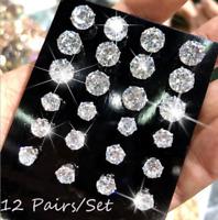 12Pairs/Set Cz Zircon Crystal Rhinestone Ear Stud Earrings Women Fashion Jewelry