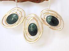 Collier Argenté Vintage 3 Pendentifs Vert Emeraude Ovales