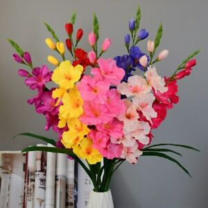 1Pc Gladiolus Artificial Silk Flowers Wedding Party Home Decor Fake Orchid