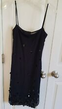 vintage evening collections Saks Fifth Avenue black sequin spaghetti strap dress