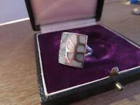 Hübscher 925 Silber Ring Groß Mosaik Blattwerk Organisch Blauschillernd Retro
