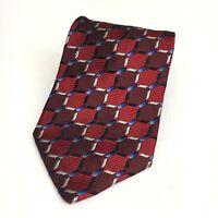 "Bachrach Red White Blue Geometric 100% Silk Men's Neck Tie USA Made 3.75"""
