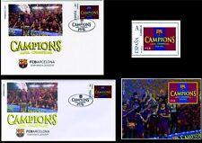 Juego completo sello sobre tarjeta prueba Champions FCBARCELONA fcb stamps