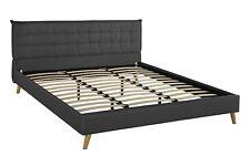 Queen Size Geometric Tufted Headboard w/ Low Profile Bed Frame, Slats, Dark Grey
