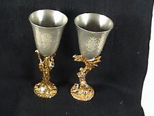 Pair Ballina Bay Hand Hammered Pewter Goblets Gold Wizard & Dragon Stems