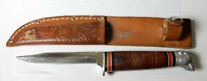 VINTAGE SCHRADE WALDEN USA 141 BEAR HEAD FIXED BLADE HUNTING KNIFE