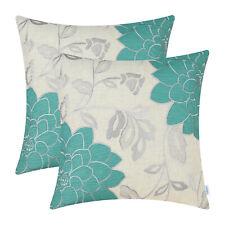 2Pcs Teal Silver Pillows Shells Cushion Covers Dahlia Florals Embroidery 40x40cm