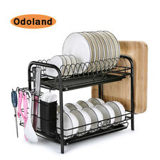 Free Standing 2 Tier Dish Drying Rack Large Cutlery Holder Shelf Drainer Storage