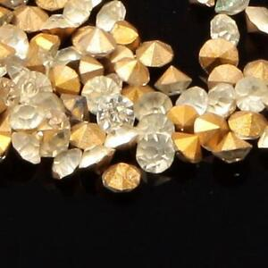 Lot (650) ss13 Czech vintage gold foiled crystal glass rhinestones