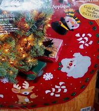 """Bucilla """"SANTA & FRIENDS"""" Felt Christmas Tree Skirt Kit Sterilized RARE MINT OOP"""