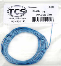 "Wire 30awg 10 foot length Blue, seven strand wire outside diameter 0.026""."