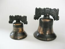 Vintage Liberty Bell Cast Metal Large and Small Set of 2