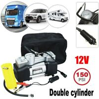 150PSI Dual Cylinder Air Pump Compressor Car Auto Tire Inflator Heavy Duty 12V