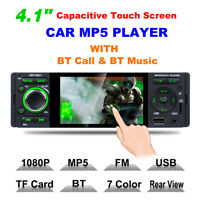 "1 DIN 4.1"" Car Stereo Touch Screen MP3 Player BT AUX FM Radio Receiver Head Unit"