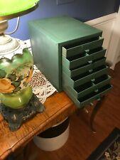 Vintage Industrial Metal 6 Drawer Parts Storage Box Cabinet Organizer Pinstriped