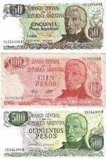 LOTE DE 3 BILLETES DE ARGENTINA 50-100 Y 500 PESOS BILLETES CIRCULADOS