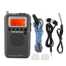 FM/AM Full Band Mini Radio Pocket Receiver Portable Digital LCD Stereo Earphone