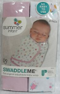 2 SwaddleMe Summer Infant Adjustable Baby Wraps Pink Owls Small/Medium 7-14 lbs